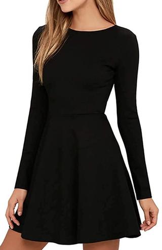 Black Casual Long Sleeve Dress