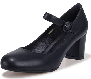Black Mary Jane Shoes with Low Block Heels