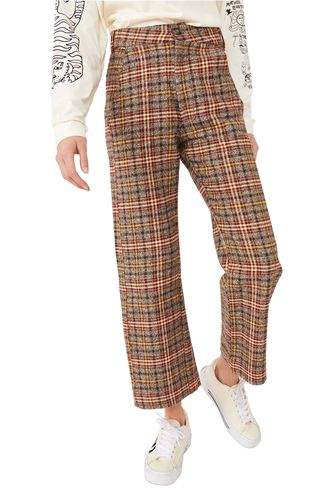 Free People Shape Up Plaid Cotton Crop Trousers