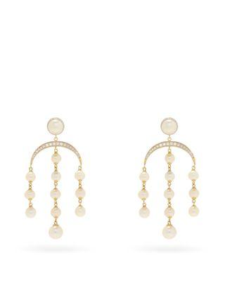 Crescent Moon diamond, pearl & 14kt gold earrings £3,540