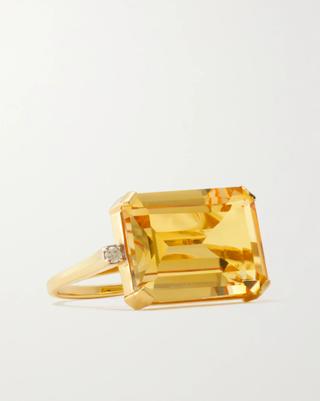 14-karat gold, citrine and diamond ring