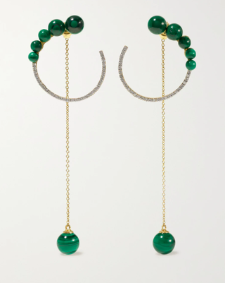 14-karat gold, malachite and diamond earrings