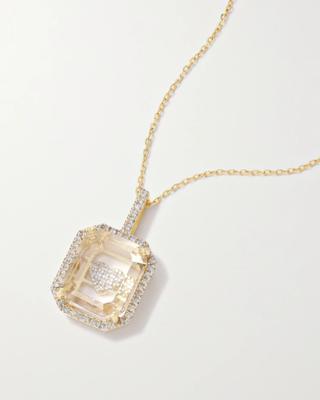14-karat gold, quartz and diamond necklace