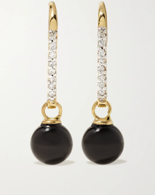 14-karat gold, onyx and diamond earrings