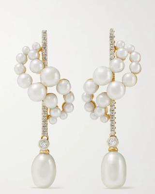14-karat gold, pearl and diamond earrings