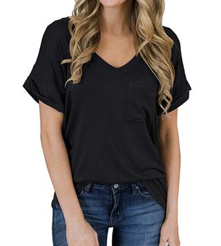 MIHOLL Women's Short Sleeve V-Neck Shirt