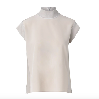 Silk Cap-Sleeve Mockneck Top