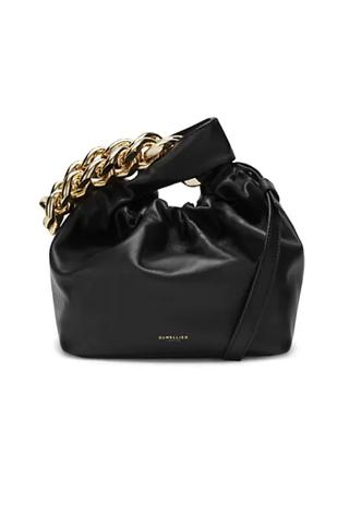 Leather handbag with chain
