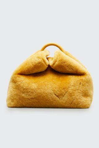 Raisin Sheepskin Top-Handle Crossbody Bag