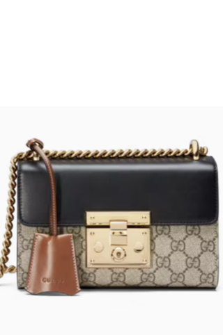 Leather bag with padlock