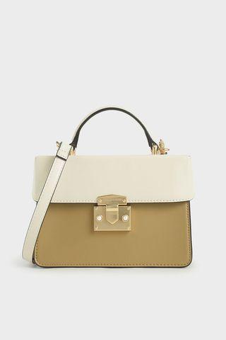 Push-Lock two-tone metallic handbag