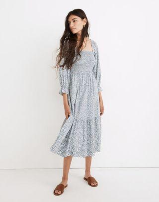 Elbow-Sleeve Smocked Midi Dress