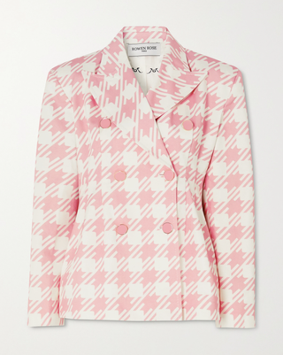 Double-Breasted Houndstooth Cotton-Twill Blazer