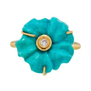 Turquoise diamond ring with flowers