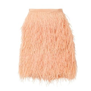 Mini skirt decorated with feathers