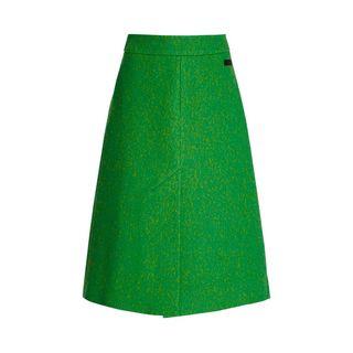 Pure wool midi skirt