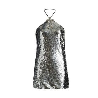 Mini dress with sequins and crystal with a bow