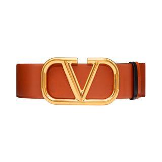 Reversible Vlogo belt made of shiny calfskin