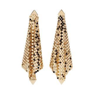 Gold mini earrings made of mesh