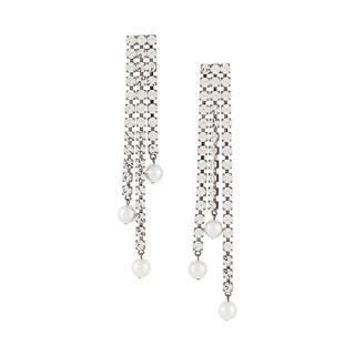 Crystal earrings with pearl pearls