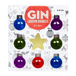 Gin Liqueur Baubles (50 ml), pack of 9, by Blue Tree Gifts