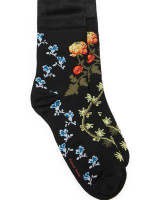 Creeping Flowers Jacquard Socks, One Size - Black