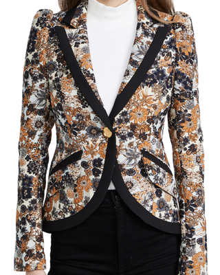 One-button pouf sleeve blazer with band
