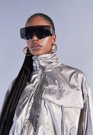 Aazhia x Missguided Khaki metal funnel sews cargo jacket