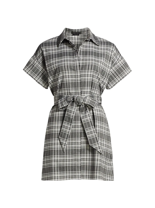 Lucette Plaid Belted Mini-Dress