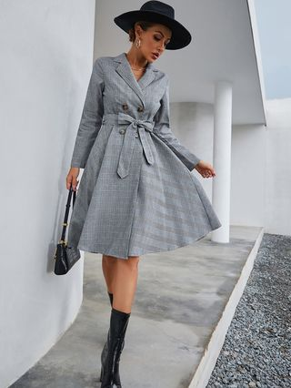 Double Breasted Belted Plaid Dress
