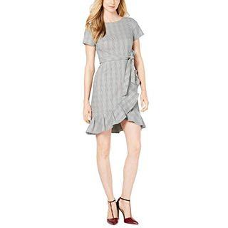 Calvin Klein Women's Ruffle Hem Belted Dress, Black/Cream, 12