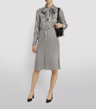 Silk Pussybow Midi Dress