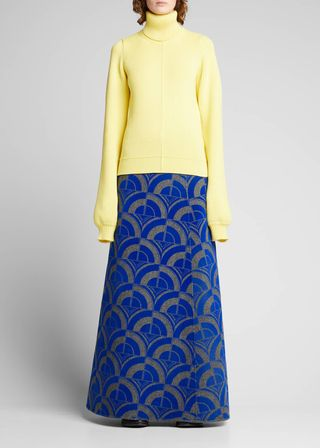 Maxi skirt with wool print