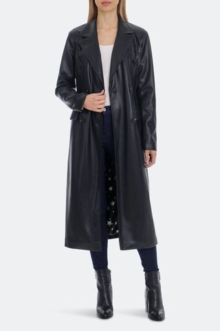 Belted Faux Leather Trench