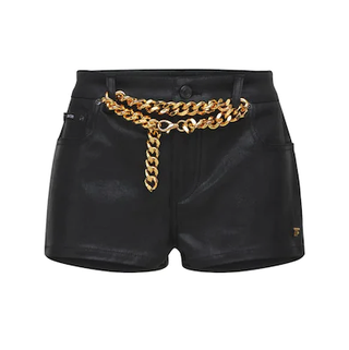 Lacquered Denim Shorts