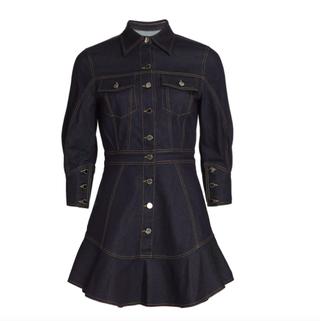 High-Low Denim Mini-Dress