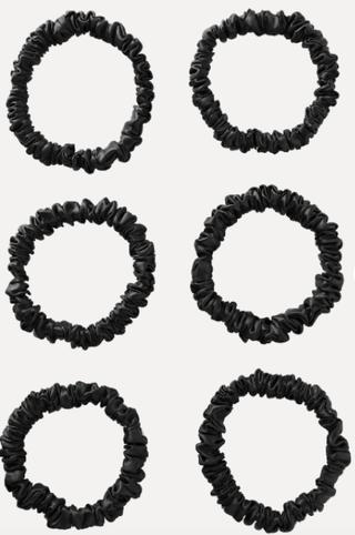 Set of six skinny silk scrunchies