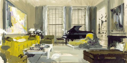 Jeremiah Goodman illustration of Mr and Mrs Dan Melnick's Living Room, New York 1967