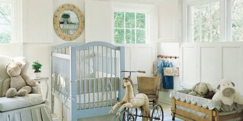 Custom chair and crib bumper in Jane Shelton ticking. Other bedding in  linen by Ralph - Antique Childrens Furniture - Antique Playroom