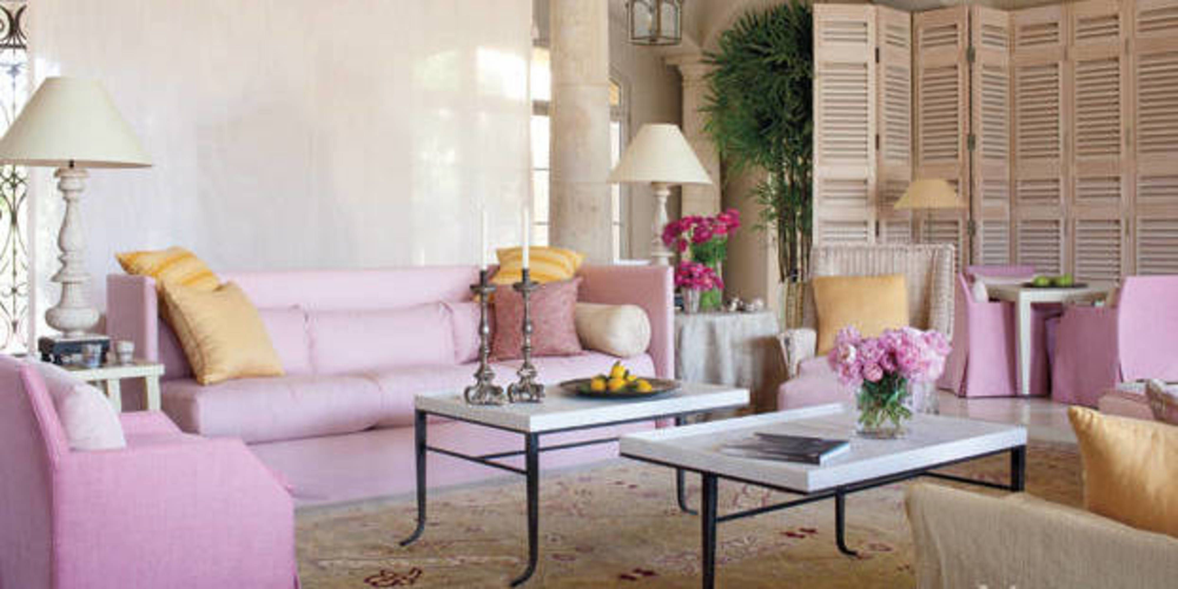 Pink Palm Springs Living Room   John Saladino Design