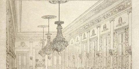 <p><b>GRAND SALON DE L'APPARTEMENT DE L'AILE DE MONTPENSIER</b><br/> After Jules-Frédéric Bouchet or Pierre Fontaine, 1830-1834<br/> Engraving on white wove paper </p>