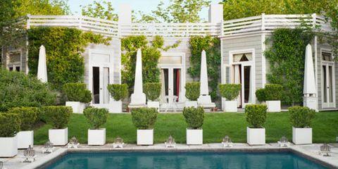 Plant, Property, Real estate, Shrub, Villa, Swimming pool, Residential area, Door, Column, Garden,