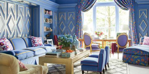 Blue, Room, Interior design, Living room, Furniture, Home, Interior design, Couch, Majorelle blue, Window treatment,