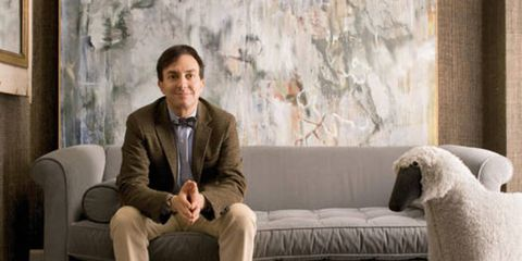 "<p>New York designer Eric Cohler sits on a Charleston sofa for <a href=""http://www.leejofa.com/"" target=""_blank"">Lee Jofa</a> with Tyler, his lamb. The abstract painting is by Kathy Burge.</p>"