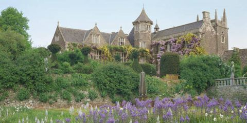 Plant, Property, Purple, Lavender, Garden, House, Shrub, Manor house, Roof, Medieval architecture,