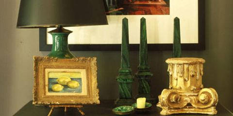 """The objects don't necessarily need to make total sense together if it's just for decorative purposes. Just try to have something that's big, something that's medium and something that's small; something that's short, something that's wide, something that's skinny. Notice that not everything's grouped together here. <b>When you collect these types of things, the mere fact that they're all in the same color family ties everything together and makes it all fun and interesting</b>."""