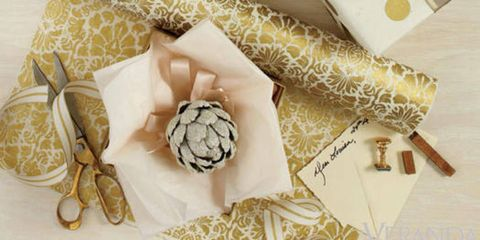 """For added allure, wrap your well-thought gifts in beautiful papers, ribbons and trims. Try the ribbons from <a href=""""http://www.raffit.com/"""" target=""""_blank"""">Raffit</a> for vintage spools and unexpected materials."""