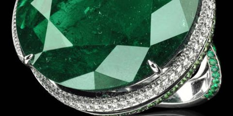 "A stunning 62-carat Columbian round emerald makes Chopard's ring a showstopper, Price upon request; 800-246-7273; <a href=""http://www.chopard.com/"" target=""_blank"">Chopard.com</a>."