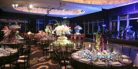 Decoration, Interior design, Function hall, Ceiling, Interior design, Hall, Banquet, Flower Arranging, Light fixture, Linens,