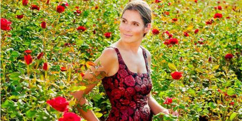 Clothing, Petal, Red, Flower, Dress, Shrub, People in nature, Flowering plant, Fruit, Day dress,